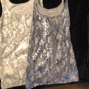 Two sequined tanks